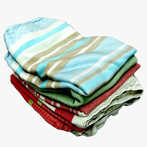 cleaned dish towels 3D model