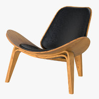 hans wegner shell chair 3D model