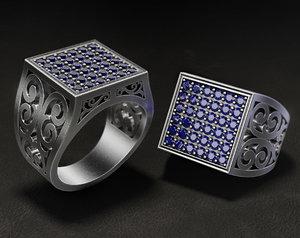 jewellery mens ring diamonds 3D model