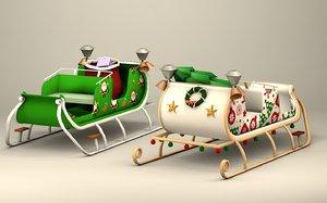 santa cart 3D model