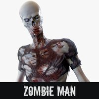 rigged zombie man 3D model