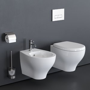 3D wall-hung toilet eden bidet model