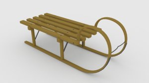 sled wood metal 3D model