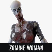 3D rigged zombie woman model