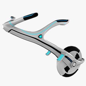 3D sci-fi monowheel scooter