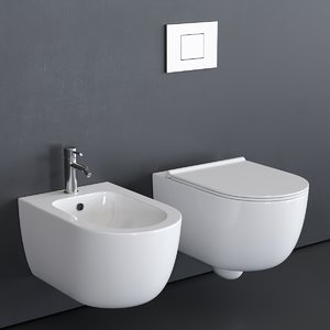toilet unica wall-hung 3D