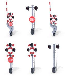 3D model pack rail crossing traffic light