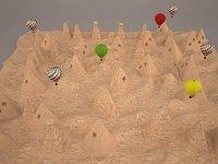 3D cappadocia mountain terrain model