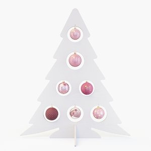 white tree pink baubles model