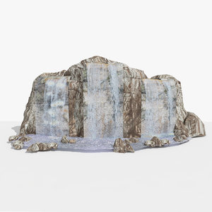 3d model stone waterfall