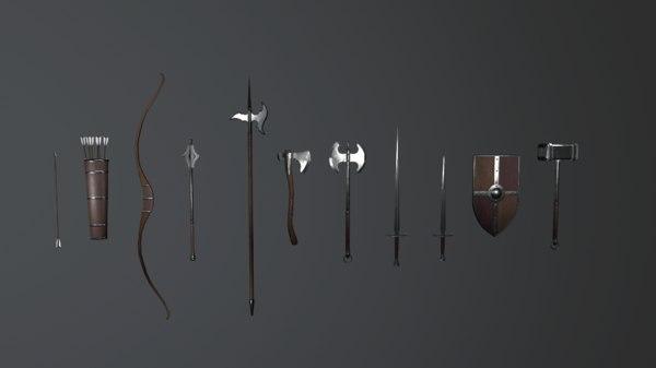 pack medieval weapons model