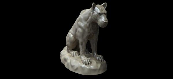 3D big cat statue