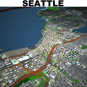 3D seattle cityscape
