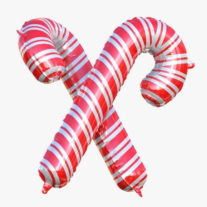3D model christmas crutches foil balloons