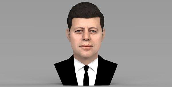 3D john kennedy bust ready