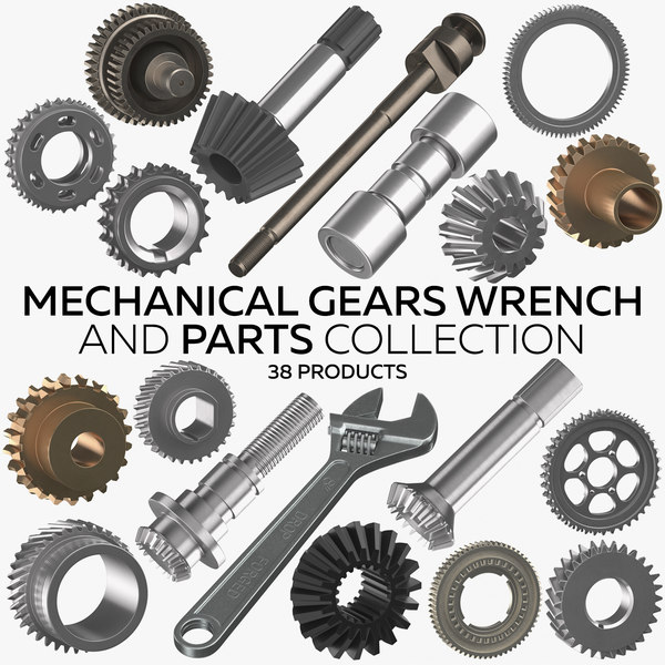 mechanical gears wrench parts 3D