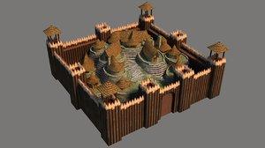 3D model barbarian village