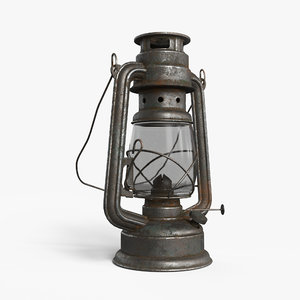 oil lamp rusty lights 3D model