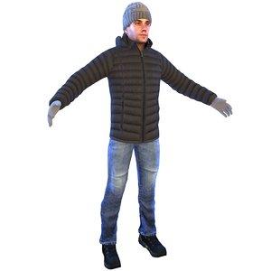 3D model man winter cap