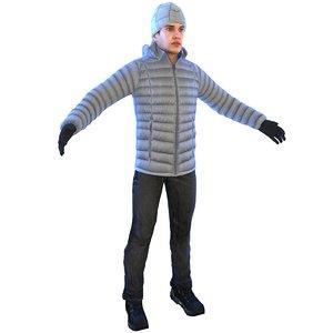 3D man winter cap model