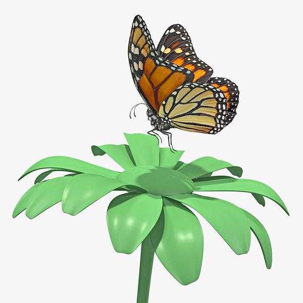 monarch butterfly takes flower 3D model