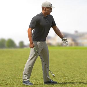 golf player rigged 3D