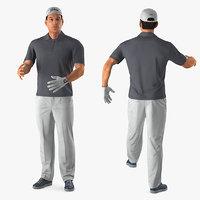 3D golf player rigged