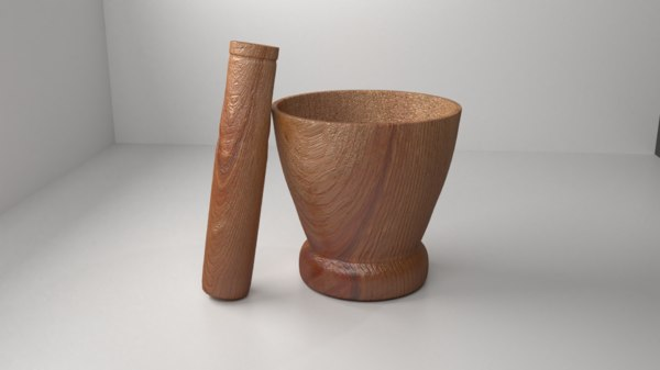 3D wood mortar pestle 3 model