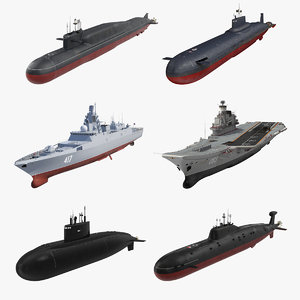 3D russian military vessels rigged model