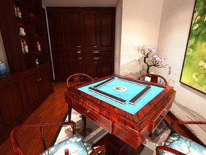 interior room mahjong table 3D model