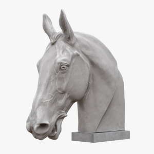 3D horse head sculpture model