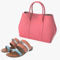 3D hermes women bag sandal model