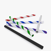 paper straws 3D model