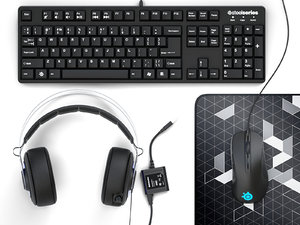 3D steelseries headphones keyboard