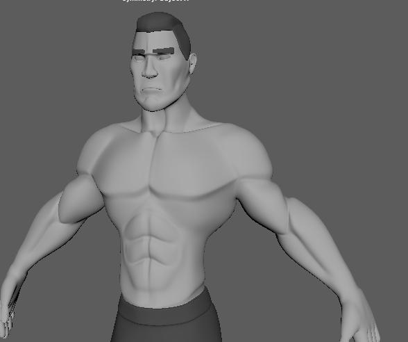 man muscular body 3D