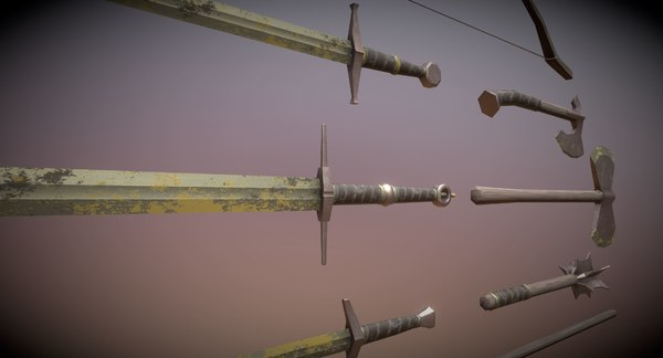 3D set rusty medieval weapons model