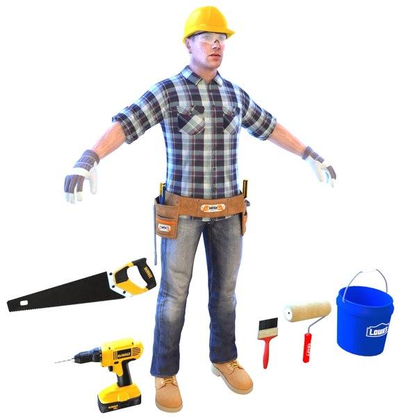 handyman worker man 3D