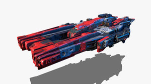 3D vehicle starship spacecraft model