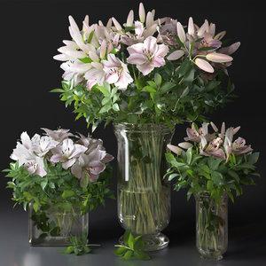 flower bouquet vase decor 3D model