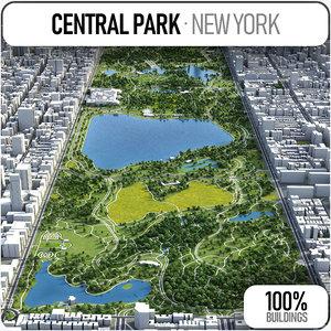 3D central park surrounding - model