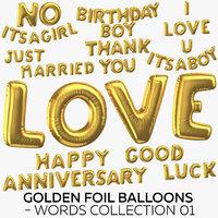 golden foil balloons - 3D model