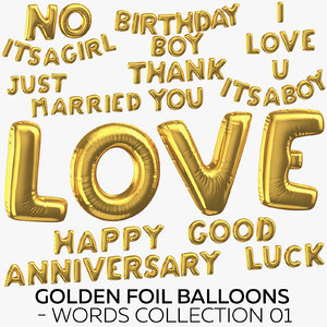 golden foil balloons - 3D model
