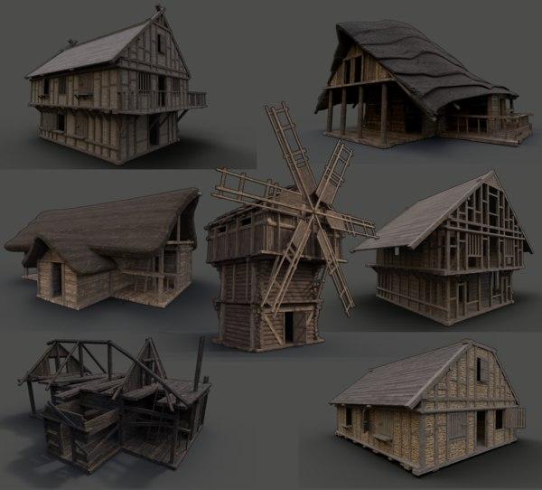 enterable medieval town buildings 3D model