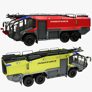 3D rosenbauer truck yellow red model