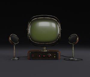 old look vintage tv 3D model