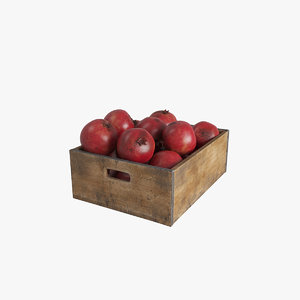 fruit pomegranate crate 3D model