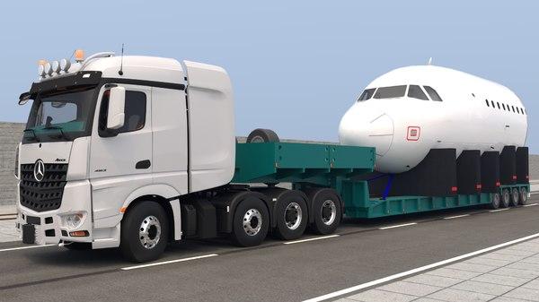 3D model mercedes trailer jet