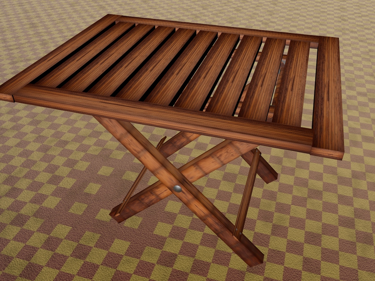 wooden fold table 3D model