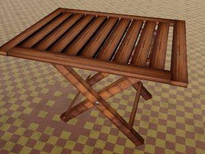 wooden fold table 3D model