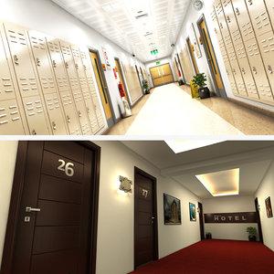 school hotel corridor model